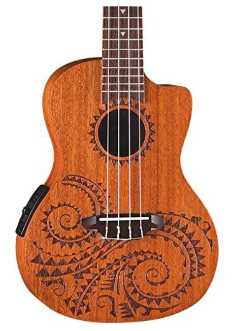 Luna Tattoo Concert Mahogany Acoustic,Electric Ukulele with Preamp & Gig Bag